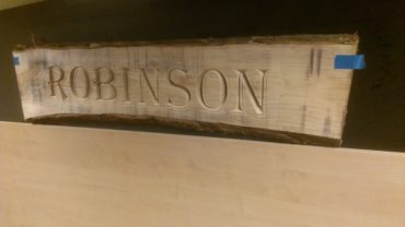 Houtbewerking naambord Robinson