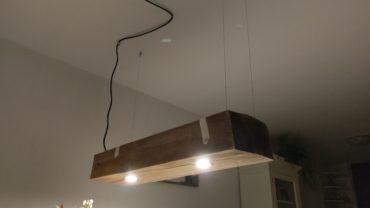 Eiken hang lamp op maat gemaakt
